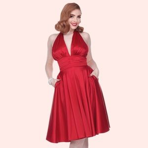 "🌺 Bettie Page ""Some Like it Hot"" Dress in Red"
